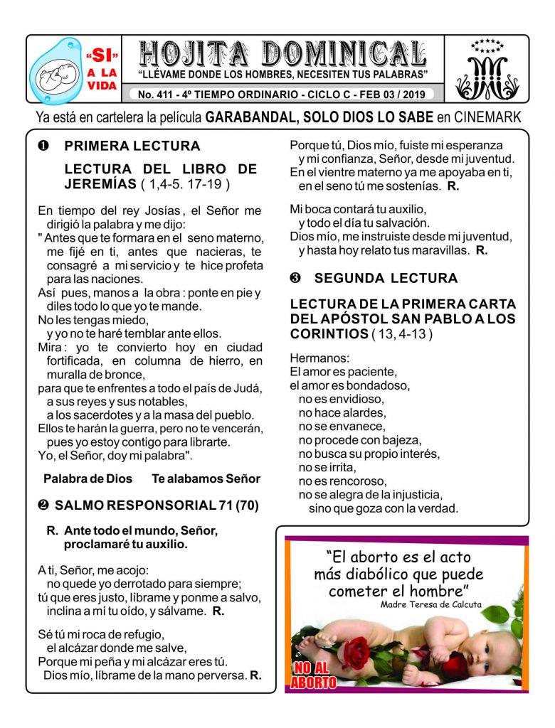 03 De Febrero De 2019 Hojita Dominical